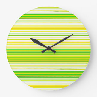 Lime Green Yellow Striped Pattern Large Clock