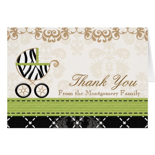 Lime Green Zebra Baby Carriage Shower Thank You Greeting Cards