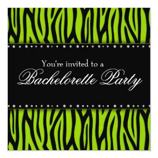"""Lime Green Zebra Diamonds Bachelorette Party 5.25"""" Square Invitation Card"""