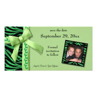 Lime Green Zebra Gems Save The Date Card Customized Photo Card