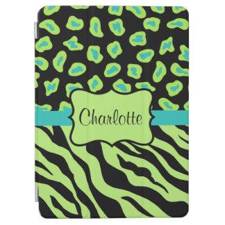 Lime Green Zebra Leopard Skin Name Personalized iPad Air Cover