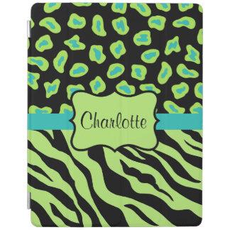 Lime Green Zebra Leopard Skin Name Personalized iPad Cover