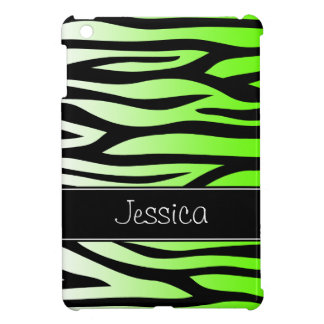 Lime Green Zebra Personalized iPad Mini Covers