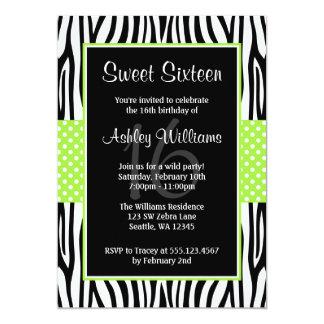 Lime Green Zebra Polka Dot Sweet 16 Invitations