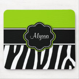 Lime Green Zebra Print Mousepad