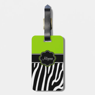 Lime Green Zebra Print Personalized Luggage Tag