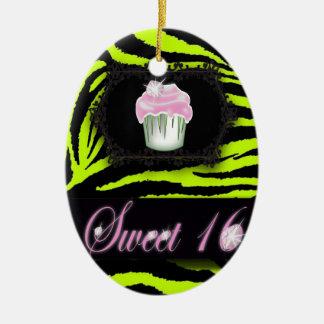 Lime green zebra print Pink Cupcake Sweet Sixteen Ceramic Ornament