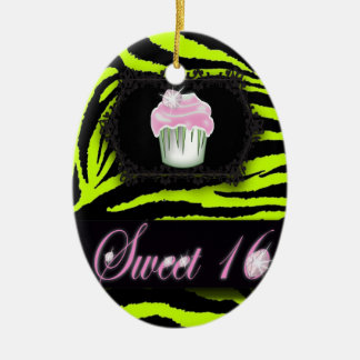 Lime green zebra print Pink Cupcake Sweet Sixteen Ceramic Oval Ornament