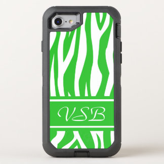 Lime Green Zebra Print with monogram OtterBox Defender iPhone 7 Case