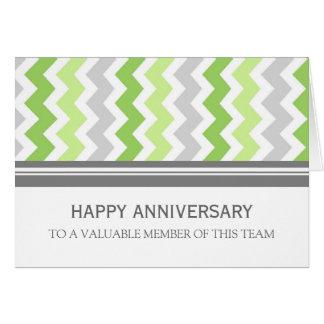 Lime Grey Chevron Employee Anniversary Card