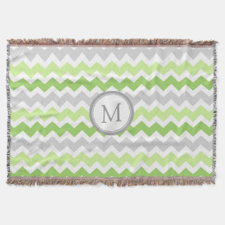 Lime Grey Chevron Pattern Monogram Throw Blanket