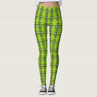 Lime Hamsa Pattern Leggings