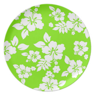Lime Hawaiian Pattern Dinner Plates