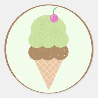 Lime Ice Cream Cone Classic Round Sticker