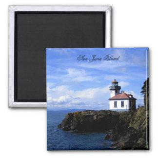 Lime Kiln Lighthouse Square Magnet