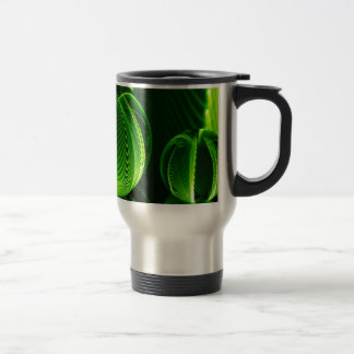 Lime lines in two balls travel mug