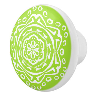 Lime Mandala Ceramic Knob
