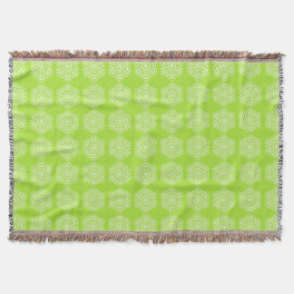 Lime Mandala Throw Blanket