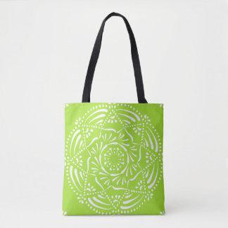 Lime Mandala Tote Bag