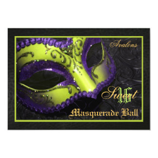 "Lime  Mask Masquerade Sweet 16 Party Invitation 5"" X 7"" Invitation Card"