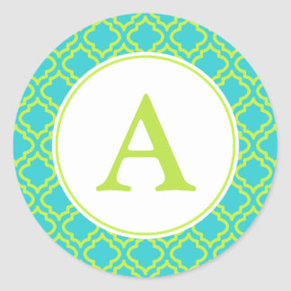 Lime Monogram Stickers