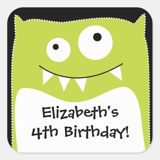 Lime Monster Bash Birthday Square Sticker