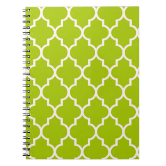 Lime Moroccan Quatrefoil Pattern Spiral Notebooks