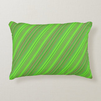 Lime Multicolored Stripes Decorative Pillow