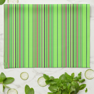 Lime Multicolored Stripes Kitchen Towel