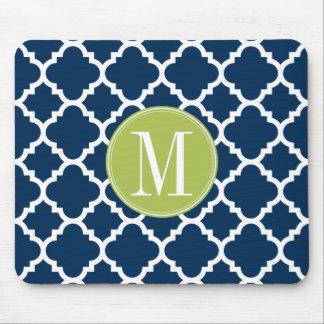 Lime & Navy Geometric Pattern Custom Monogram Mouse Pad