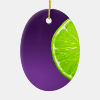 Lime on Purple Ceramic Ornament