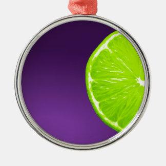 Lime on Purple Metal Ornament