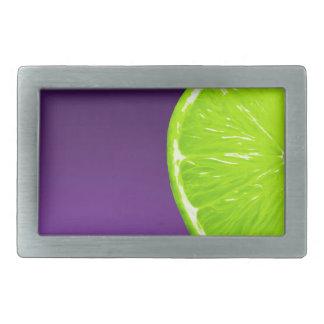 Lime on Purple Rectangular Belt Buckle