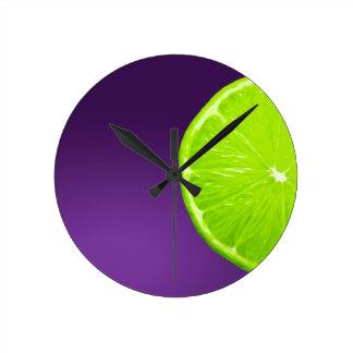 Lime on Purple Round Clock