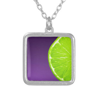 Lime on Purple Silver Plated Necklace