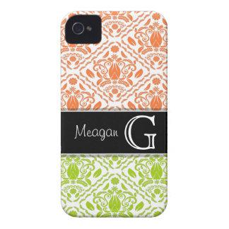 Lime & Orange Damask Personalized iPhone 4/4s case