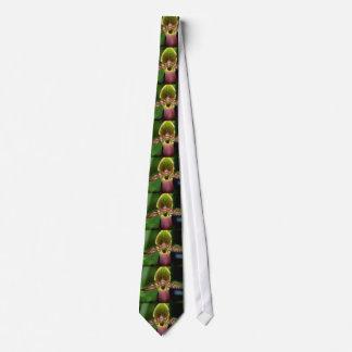 Lime Paphiopedilum argus flowers Tie