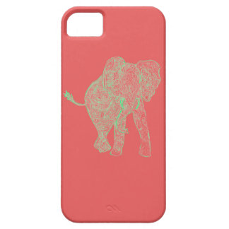 Lime/Peach Elephant iPhone 5 Case