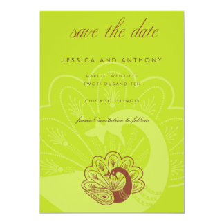 """lime peacock save the date 5"""" x 7"""" invitation card"""