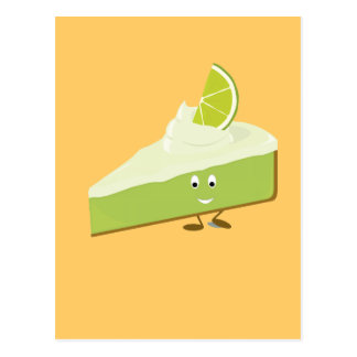 Lime pie slice character postcard