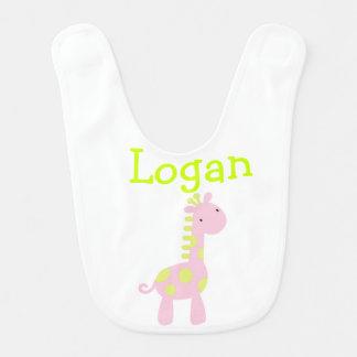 Lime & Pink Baby Giraffe Bib Bibs