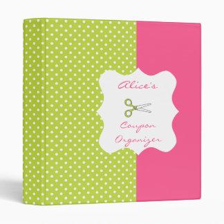 Lime&Pink Polka Dot Personalized Coupon Organizer 3 Ring Binder