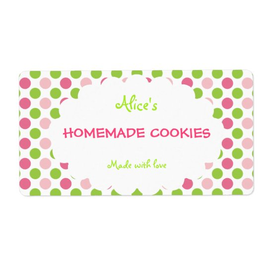 Lime&Pink Polka Dot Personalized Homemade Cookies Shipping Label