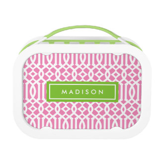 Lime & Pink Trellis | Personalized Lunch Box