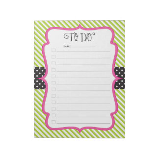 Lime Polka Dot Stripe To-Do Checklist Notepad