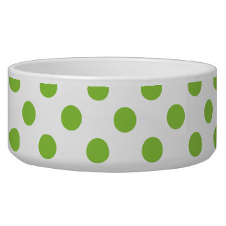 Lime Polka Dots on White Pet Food Bowl