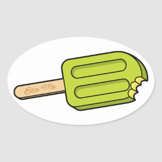 Lime Popsicle Bite Me Oval Stickers