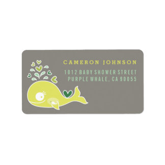 Lime Pregnant Mom Whale Baby Shower Address Labels
