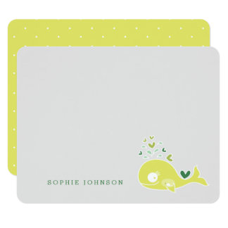 Lime Pregnant Mom Whale Baby Shower Thank You Card