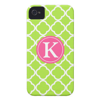 Lime Quarterfoil Pink Monogram Custom iPhone Case